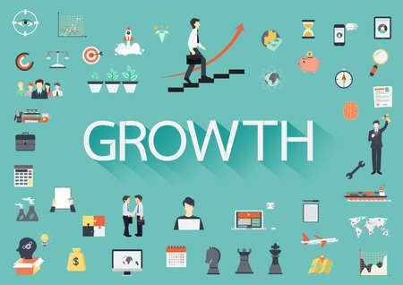 concerning: The word GROWTH with long shadow surrounding by concerning flat icons Illustration