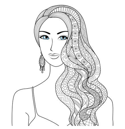 isolated animal: Drawing sexy woman zentangle hair style for coloring book for adult Illustration