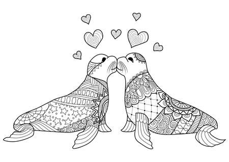 white lion: Seals kissing each other valentine zentangle design for coloring book and other decorations