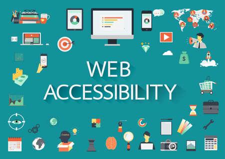 Parole ACCESSIBILITÉ WEB avec une longue ombre entourée par des icônes plates connexes. Vecteurs