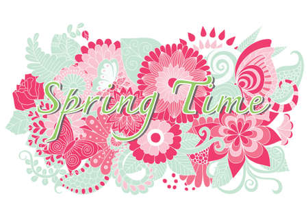 butterfly background: Spring time word with hand drawn mandala flowers and butterfly vector