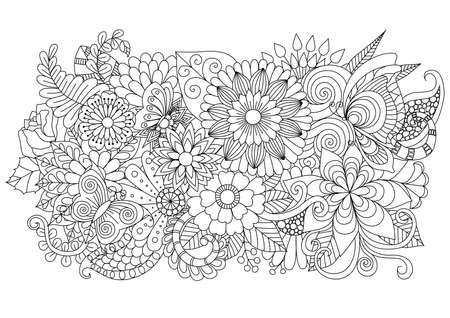 색칠 페이지와 다른 장식 손으로 그린 zentangle 꽃 배경