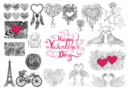 s day: Valentines Day theme doodle zentangle design elements set. Happy valentines day lettering
