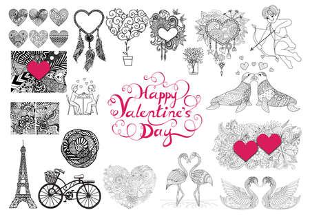 saint valentine s day: Valentines Day theme doodle zentangle design elements set. Happy valentines day lettering