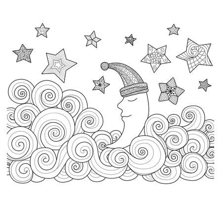 evening: Sleeping moon with stars zentangle design for coloring book for adult