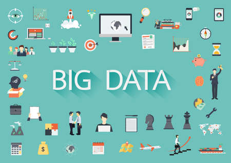surrounding: The word BIG DATA surrounding by concerning flat icons