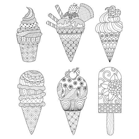 Ice cream set for coloring book for adult and other decorations Vectores