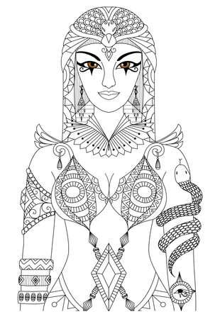 Cleopatra reina de Egipto para el diseño de libro para colorear para los adultos, páginas para colorear anti estrés