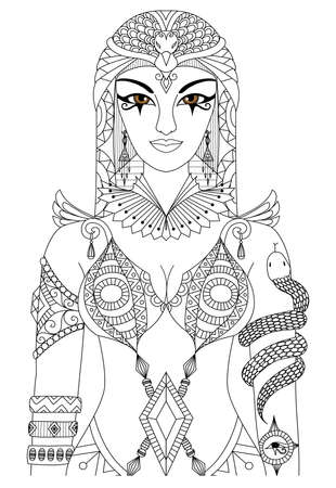 dibujos para colorear: Cleopatra reina de Egipto para el diseño de libro para colorear para los adultos, páginas para colorear anti estrés