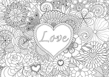 Heart on floral background for coloring book for adult Çizim
