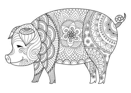page: Drawing pig for coloring book for adult or other decorations