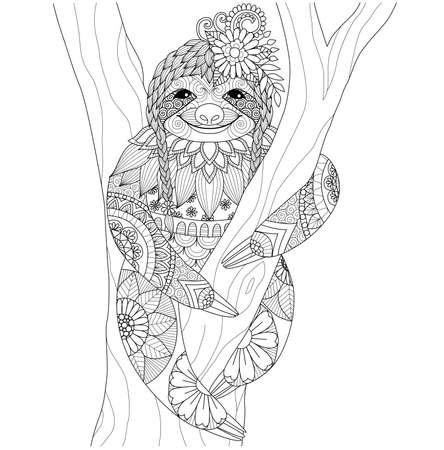 oso perezoso: La pereza por un libro de colorear para los adultos Vectores