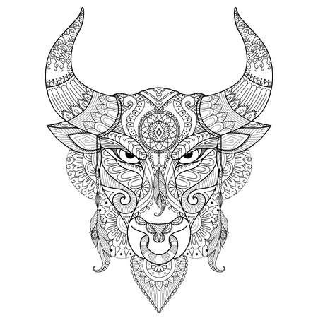 Dibujo enojado del toro para colorear, tatuaje, diseño de la camiseta y otra decoración Ilustración de vector