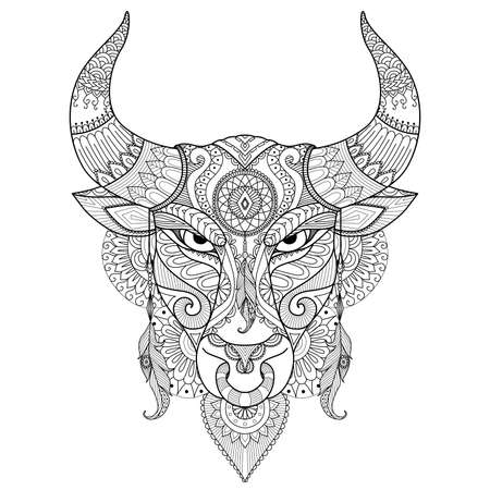 Drawing angry bull for coloring book,tattoo,T shirt design and other decoration 向量圖像