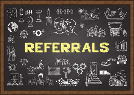 referrals: Doodle about referrals on chalkboard