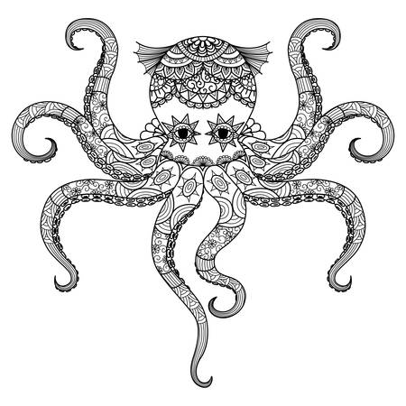 indian animal: Drawing octopus design