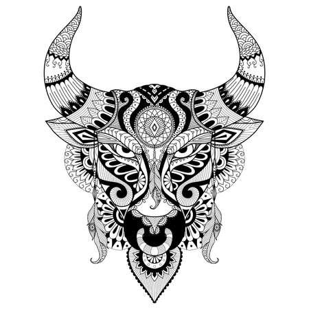 cow skull: Drawing angry bull