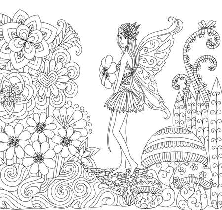 coloring book pages: Hand drawn fairy walking in flower land for coloring book for adult Illustration