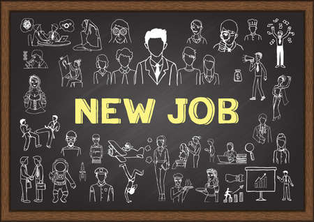 new job: Doodle about new job on chalkboard