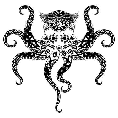 totem indien: Design dessin de poulpe