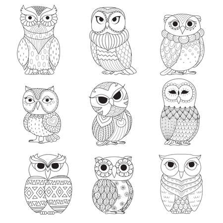 predators: Nine owls design for coloring book, tattoo, shirt design and other decoration