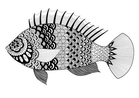 black fish: Fish line art design for coloring book for adult, tattoo, T shirt design, element for design and so on