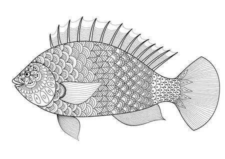 Fish line art design for coloring book for adult, tattoo, T shirt design, element for design and so on
