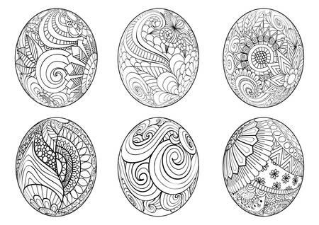 Pasen eieren voor kleurboek voor volwassen Stock Illustratie