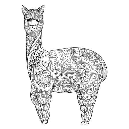 Alpaca design for coloring book for adult,  t shirt design and so on
