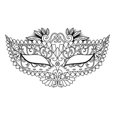Four carnival mask designs for coloring book for adult or element for design Stock Illustratie