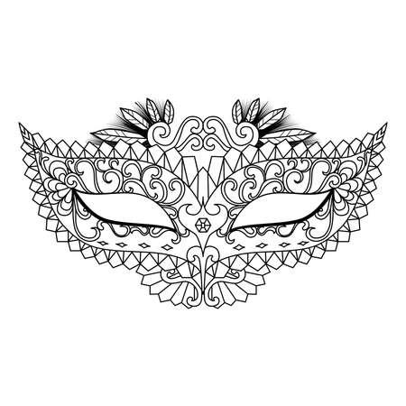 Four carnival mask designs for coloring book for adult or element for design Illustration