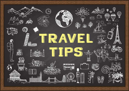 Doodle about Travel tips on chalkboard