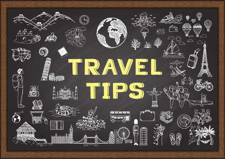 Garabatos sobre Recomendaciones de viaje en la pizarra Ilustración de vector