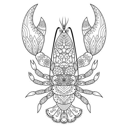 Lobster line art design for coloring book,  t shirt design, tattoo and so on