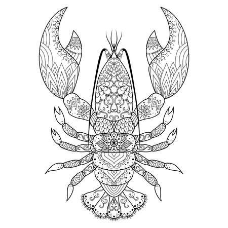 directorio telefonico: El diseño del arte línea de langosta para dar color, diseño de la camiseta, tatuaje, etc. Vectores