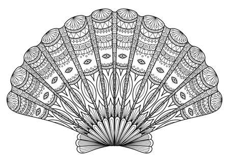 Seashell for coloring book,tattoo, t shirt design and so on