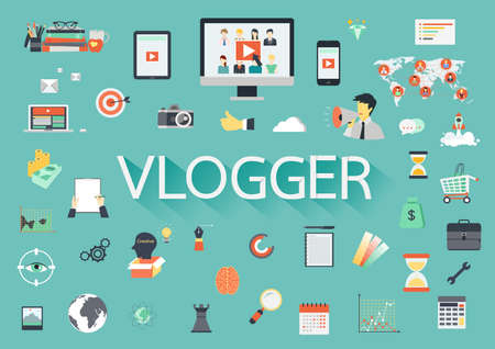 Word Vlogger met betrokken vlakke pictogrammen rond.