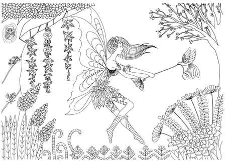 Hada está jugando con el pájaro en el diseño del bosque para colorear libro para adultos Vectores