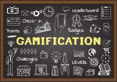 Hand getrokken pictogrammen over gamification op schoolbord, marketing concept Stock Illustratie