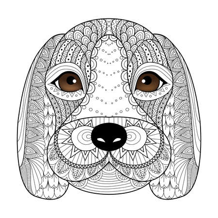 hound dog: Beagle line art for coloring book for adult,tattoo, t shirt design and so on