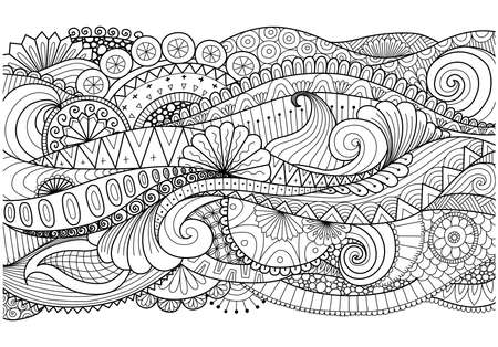 Boho pattern for background, decorations,banner,coloring book,cards and so on Иллюстрация