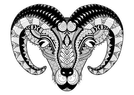 角を持つ羊ラインの着色本、t シャツのデザイン、タトゥーなどのアート デザイン ベクターイラストレーション