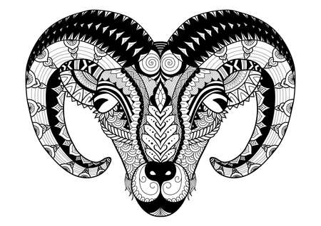 Horn sheep line art design for coloring book, t shirt design, tatoo and so on 向量圖像