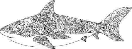 horrify: Shark line art design for coloring book for adult, tattoo, t shirt design and other decorations