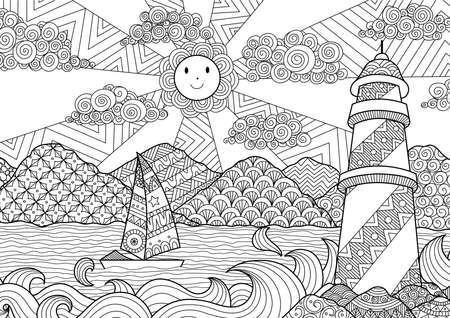 Seascape line art design for coloring book for adult Ilustração