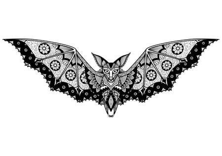 コウモリのライン アート デザイン ロゴ、タトゥー大人の塗り絵のように 写真素材 - 55422810