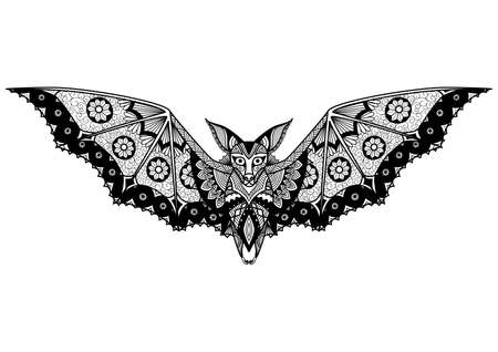 Bat line art design for coloring book for adult, tattoo, logo and so on