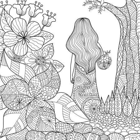 Girl in garden for coloring book Stock Illustratie