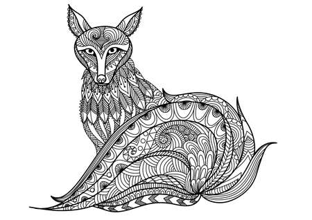 wildlife: Red fox line art design for coloring book for adult, t shirt design and other decorations