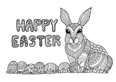 bunnies: Happy Easter typography with Easter eggs and bunny